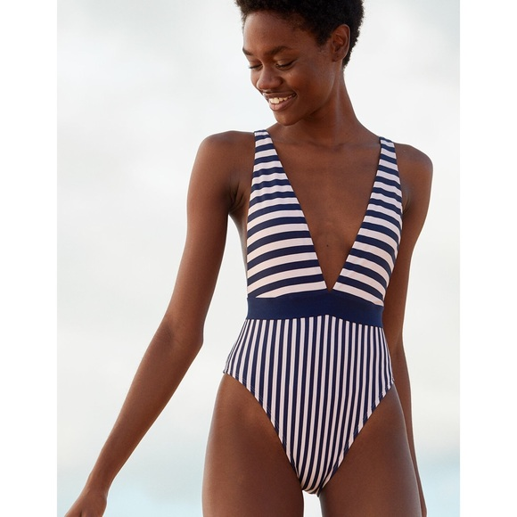 73efa7547a NWT Aerie striped plunge one piece bathing suit